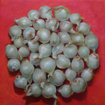 "Kathleen Erin Lee, Circle of Onions, Oil on canvas, 12 x 12"""
