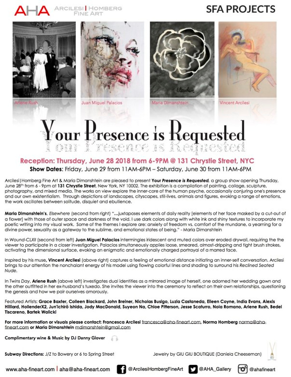 """""""Your Presence is Requested"""" AHA Pop-Up Show 2018"""
