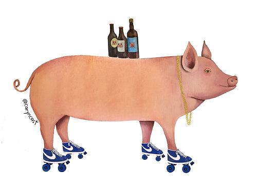 OG PIG ON ROLLER SKATES by Caryn Cast