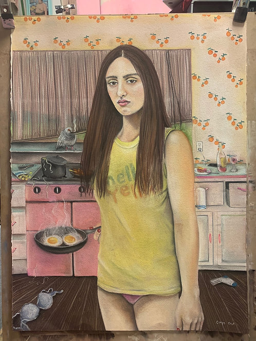Caryn Cast, Sunday is Shut up Day, 2020, Pastels on paper