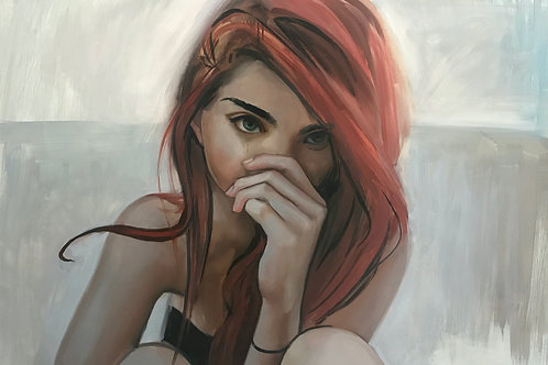 """Michael Connors, Red Head, 2019, Oil on canvas  24 x 36"""""""