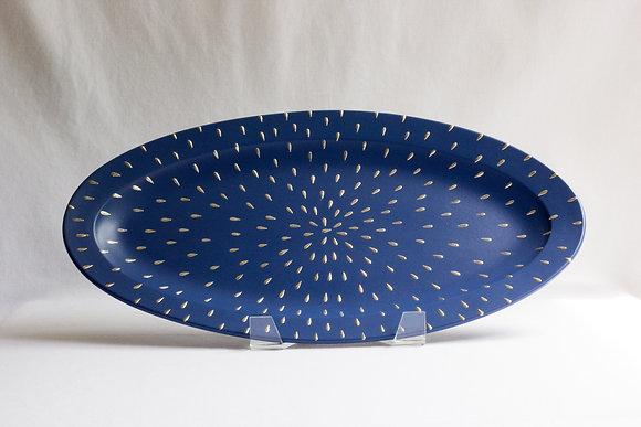Medium Silver Starburst Oval Platter