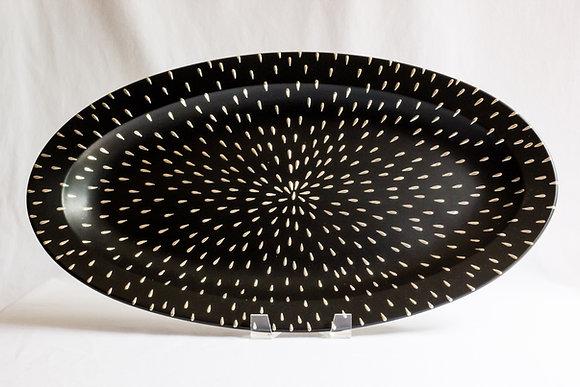 Large Silver Starburst Oval Platter