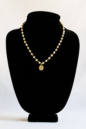 Religious Pearl Necklace with Stones