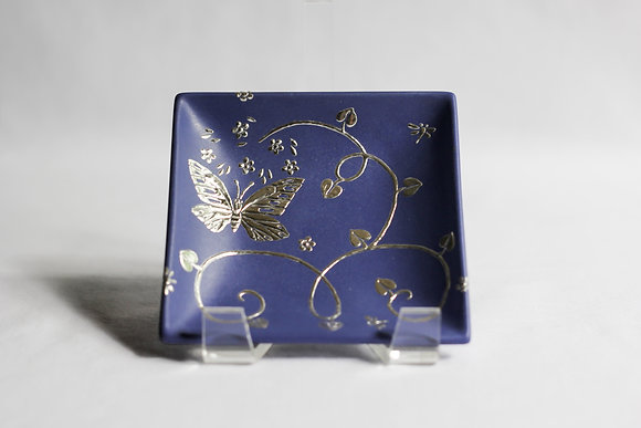 Small Butterfly and Vine Square Plate