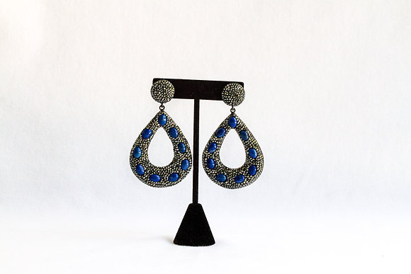 Teardrop Earrings with Blue Stones