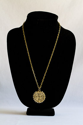Religious Medallion Necklace with Stones