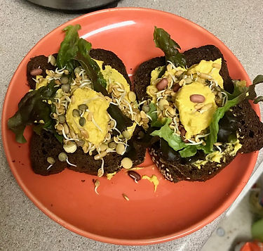 Open faced sandwich with our pumpernickel bread