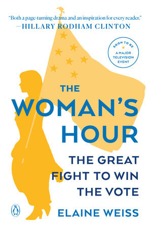 Cover of the book The Woman's House featuring a white background, yellow silhouette of a woman carrying an American flag with book title in blue over it.
