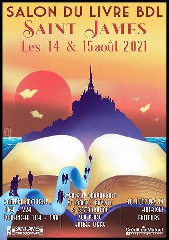 Affiche salon BDL Saint-James 14 et 15 aout personnes marchant dans unlivre vers le mont Saint-Michel
