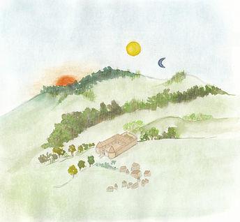 Première aquarelle de la citadelle de Farstaff, dansles cillines. Soleil orange, deux lunes dont une bleue.