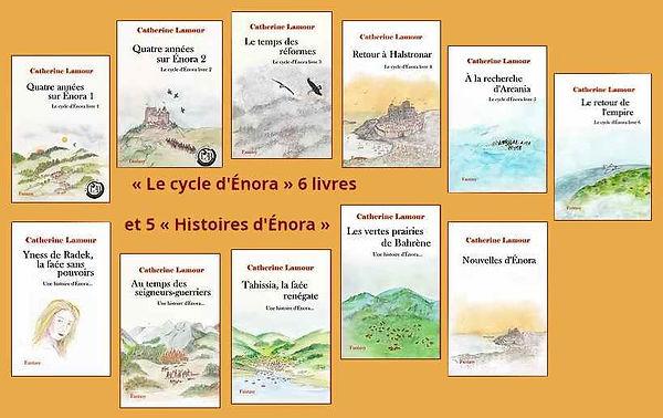 """Les couvertures des 6 livres du """"Cycle d'Énora"""" et des 5 """"Histoires d'Énora"""""""