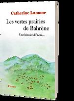 """Couverture du roman """"Les vertes prairies de Bahrène"""". Une prairie verte au pied des collines, où paissent des ocaps."""