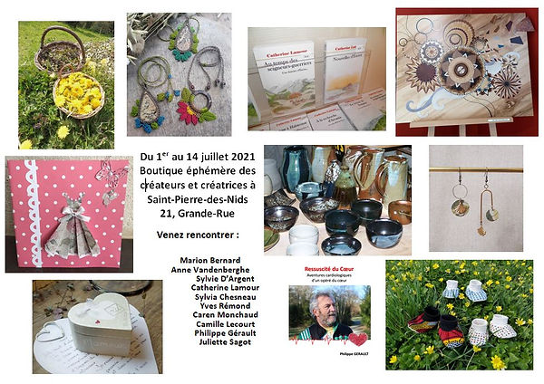 Affichette : fleurs dans un panier, bijoux, livres, marqueterie, créations textiles, poteries.