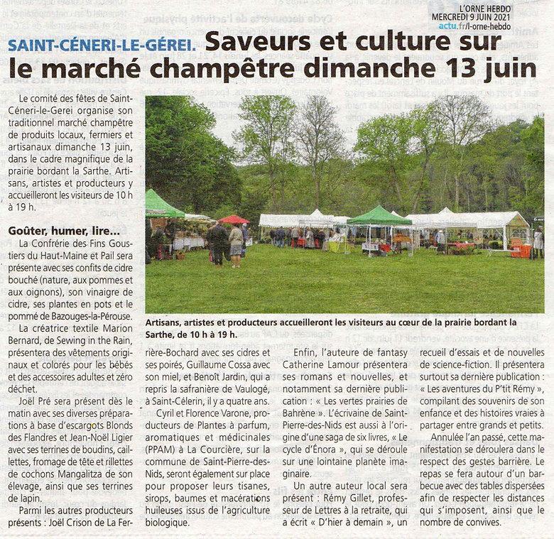 Article de L'Orne Hebdo du 9 juin 2021 : Saint-Céneri-le-Gérei, saveurs et culture sur le marché champêtre dimanche 13 juin avec une photo du marché dans la prairie en bord de la Sarthe.
