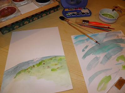 Premier essai de couleurs, planète, navette