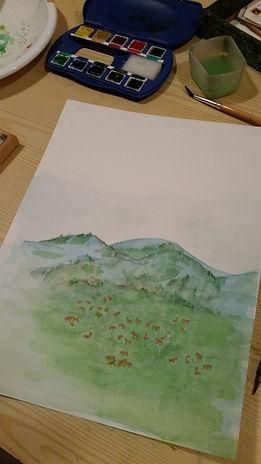 Réalisation de l'aquarelle pour la couverture des Vertes prairies de Bahrène : peintures, pinceaux...