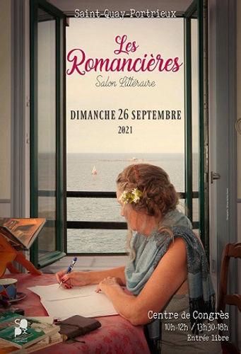 Affiche du salon Les Romancières Femme écrivant devant une fenêtre donnant sur la mer