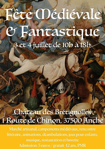 Affiche fête médiévale et fantastique 3 et 4 juillet, extrait d'un tableau de Bosch