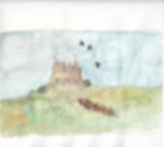 Aquarelle de l'arrivée d'Anna à Gwendir