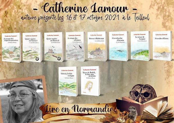 Affiche annonçant la présence de Catherine Lamour au salon du Teilleul les 16 et 17 octobre 2021. Photo de l'auteur et de 10 de ses ouvrages.