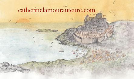 Carte de visite de Catherine Lamour : un château dominant un port dans une lumière orange