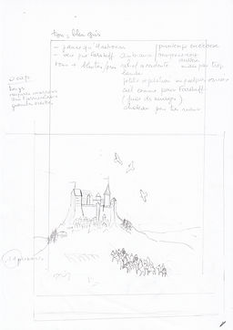 Crayonné de l'arrivée d'Anna à Gwendir pour le tome 2