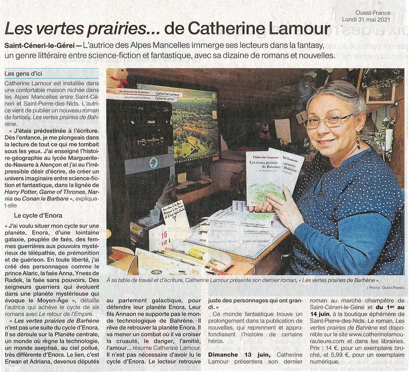 Article de Ouest-France de l'Orne du 31 mai 2021 Les vertes prairies... de Catherine Lamour