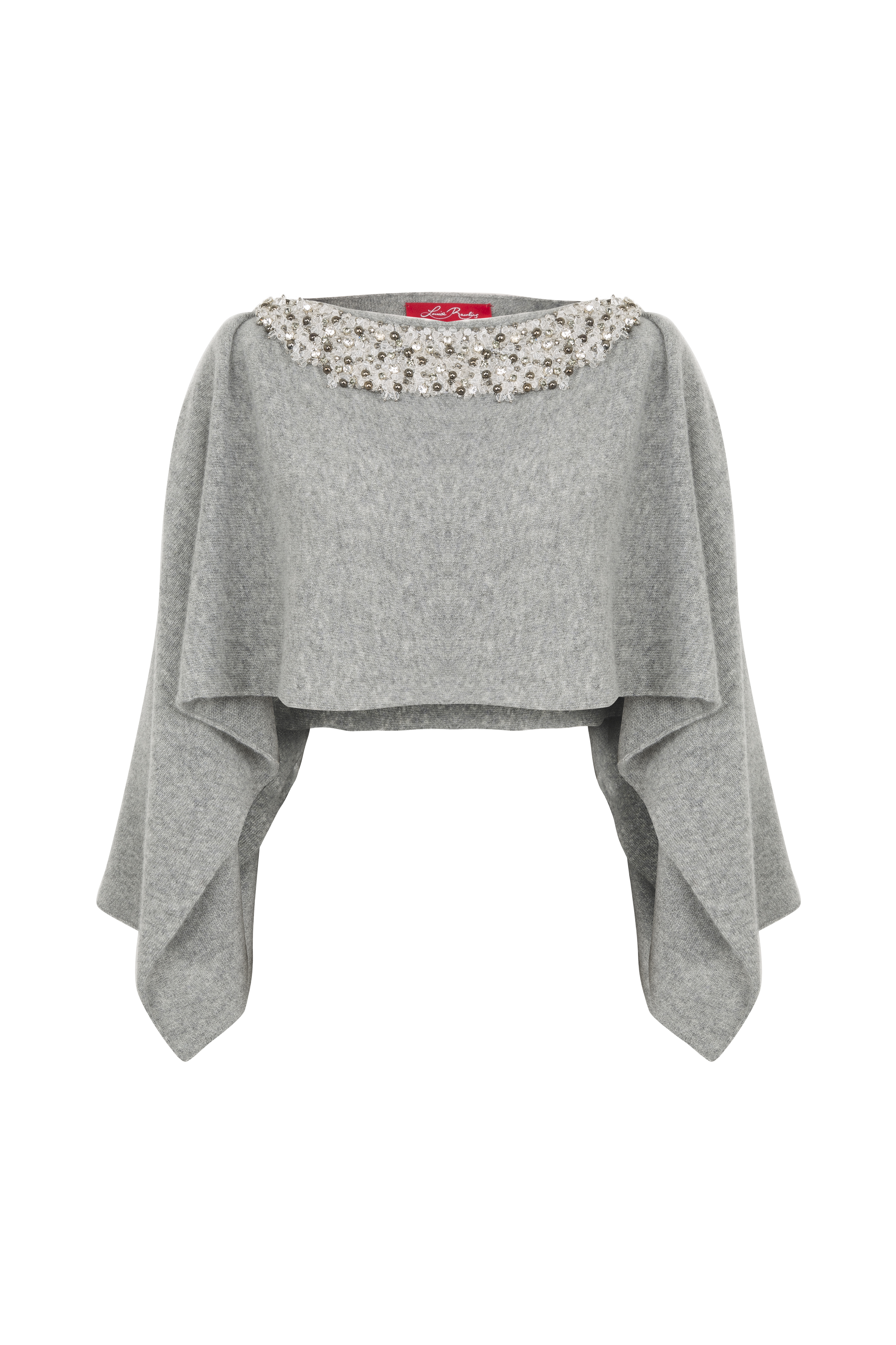 Louise Rawlins Poncho with Embellished Neckline in Flannel Grey