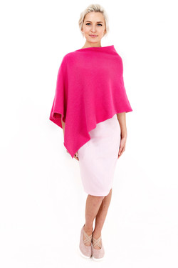 Louise Rawlins Plain Poncho in Hot Pink