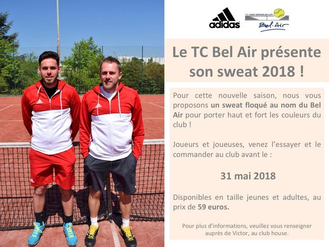 Le TC SG Bel Air vous présente son Sweat 2018