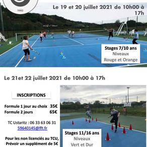 Stages de Juillet/Août 2021