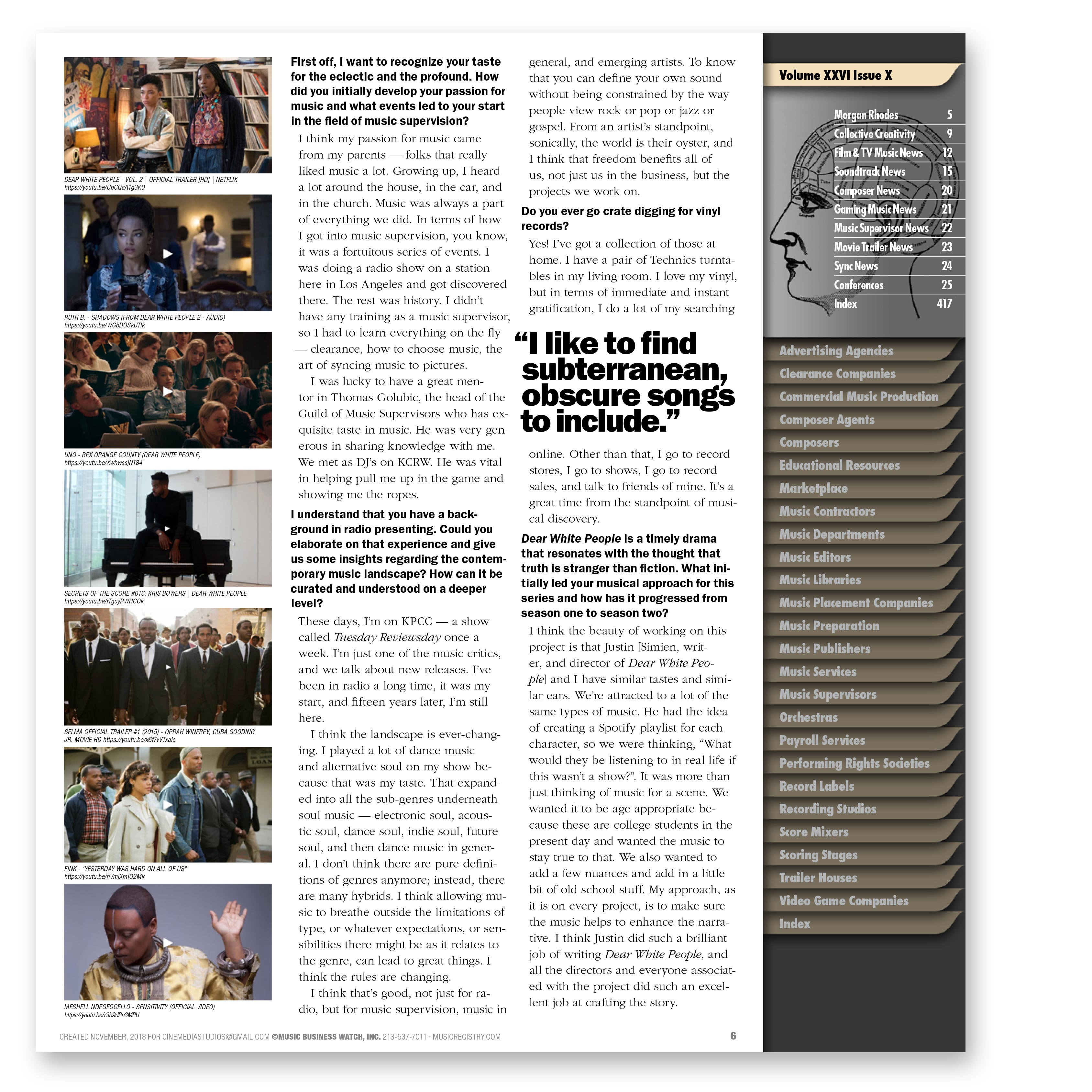 Film & Television Music Monthly — 1 Excel file +12 pdf issues |  musicregistry