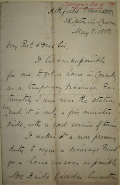 1888 Revd. Whitaker seeks a vicarage in Cononley.