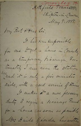 1888 Revd. Whitaker seeks a vicarage in
