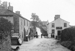 Skipton Road with the Crown Inn, closed in 1907.