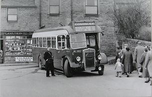 Bus Outside Cononley Shop Black and White