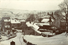 Main Street and Cononley Hall in snow, before 1909.