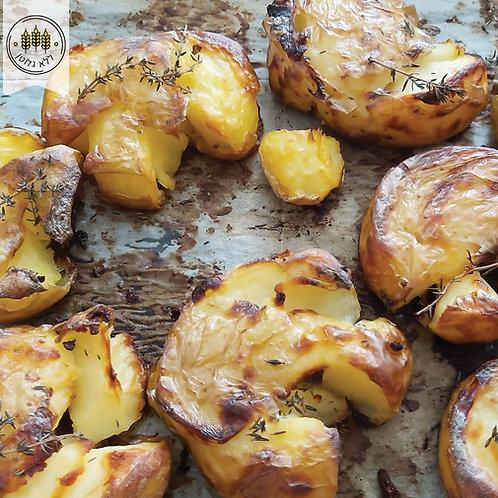 תפוחי אדמה מעוכים אפויים