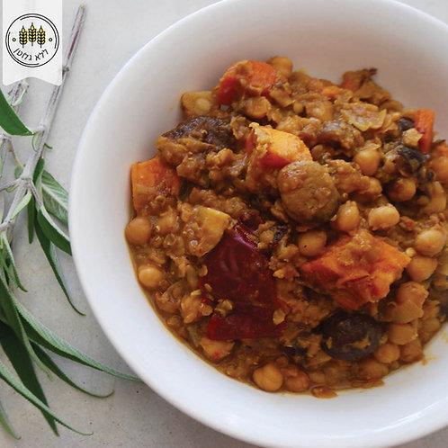 נזיד ירקות שורש, קטניות ,ערמונים ושזיפים מיובשים