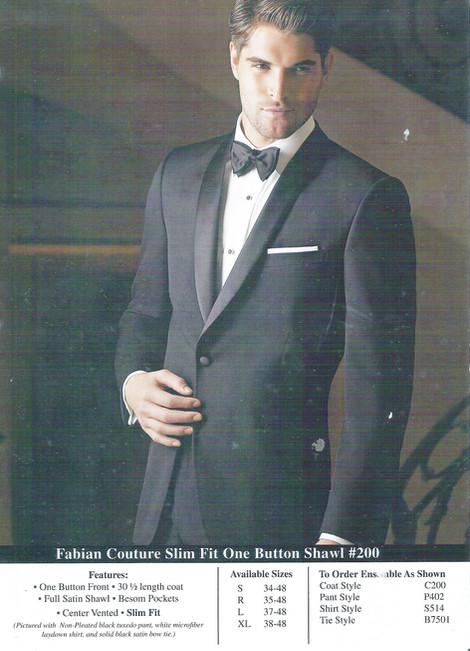 Slim Fit One Button Shawl #200
