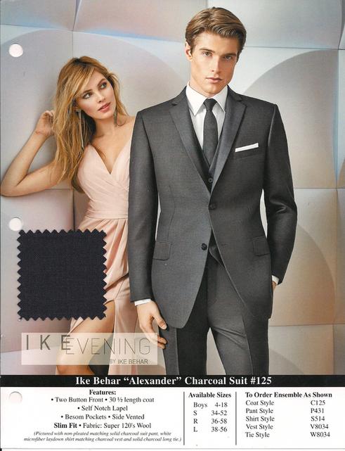"Ike Behar ""Alexander"" Charcoal Suit"