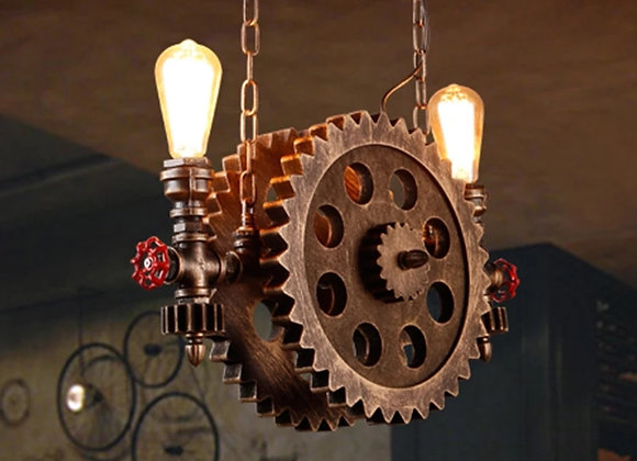 Vintage industrial lamp vehicle wheels pipe light and lighting fixture