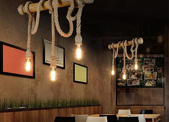Natural bamboo tube hanging wire rope lamp hemp light