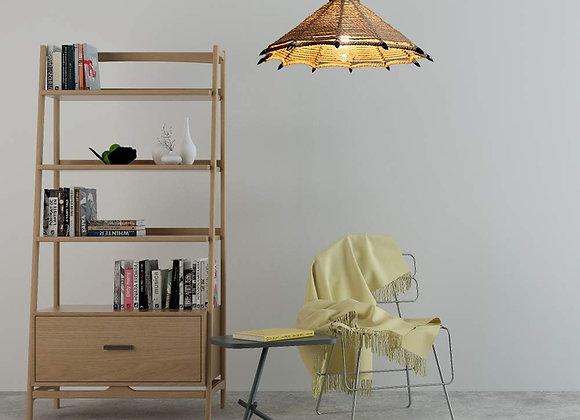 أدى حبل القنب المواد قبعة اللون الطبيعي شكل مصباح السقف الرجعية قلادة