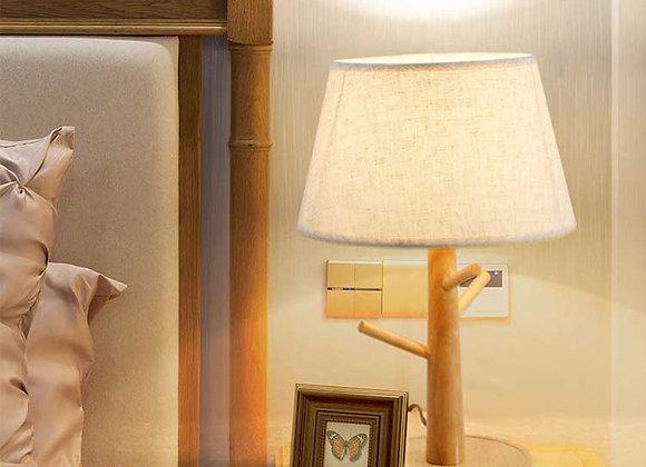 مصباح طاولة خشبي مصنوع من خشب البلوط