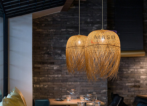 Ceiling round bamboo and rattan pendant lamp natural design