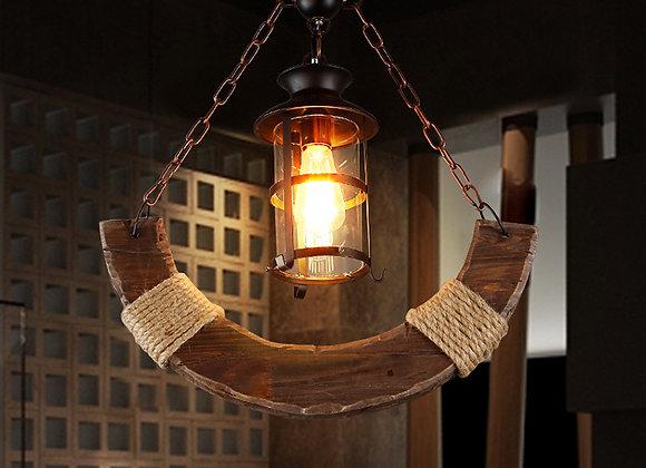 العتيقة الثريا الخشبية قلادة مصباح الخشب لبار أضواء الديكور