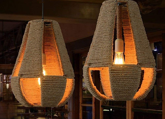 Vintage hemp knitted rope lamp hanging pendant ceiling light fixture