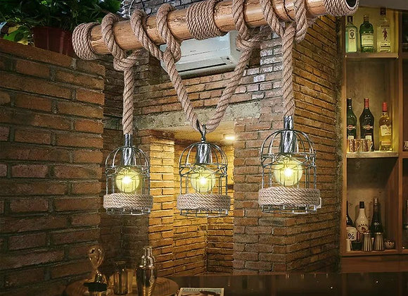 Handmade bamboo lamp designs rope hanging cage lighting e27